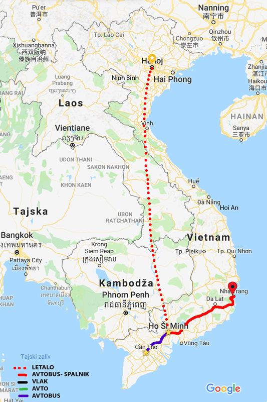 Zemljevid dosedanje poti - Hanoi - Ho chi Munch - Mekong Delta - Nha Trang