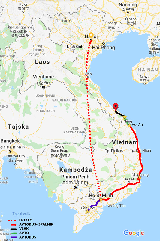 Vietnam - iz Dananga smo priši v Hue z vlakom (2,5 ure).